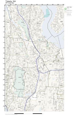 ZIP Code Wall Map of Tukwila, WA ZIP Code Map Laminated