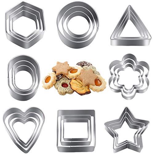 Liesun Forme per Biscotti, formine Biscotti, 24 formine Biscotti Natale, Stampino Biscotti, coppapasta in Acciaio Inox 8 Modelli in 3 Dimensioni(Esagono/Stella/Cerchio/rettangolo.)
