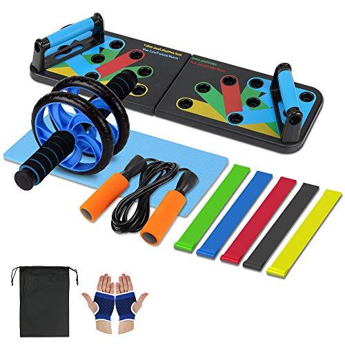 Aurorast Fitness-Set 4 Stück- Fitnessband|Fitness Liegestützgriffe Board|Springseil Erwachsene Einstellbar|Bauchtrainer ab Roller mit Kniematte, Fitnessgeräte für Zuhause um deinen Körper zu Formen