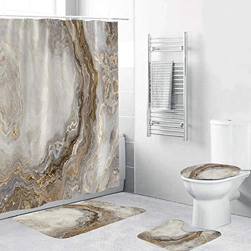 ZHEBEI Duschvorhang-Set mit rutschfestem Teppich in Marmor-Optik, Weiß