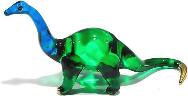 Handmade Mini Brontosaurus Art Glass Blown Jurassic Dinosaur Figurine Miniature