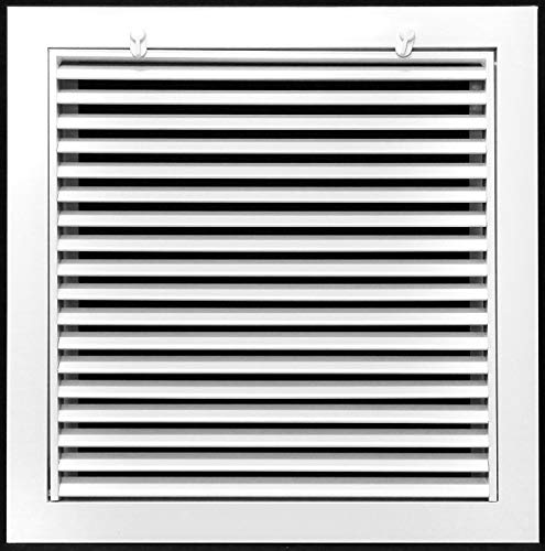8' X 8' Steel Return Air Filter Grille for 1' Filter - Removable Face/Door - HVAC Duct Cover - Flat Stamped Face - White [Outer Dimensions: 9.75w X 9.75h]