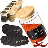 G&K Kitchenware ® Gewürzgläser Set Rund (10 Stück) Vorratsgläser 120ml Mit Bambusdeckel Und Beschriftungs - Etiketten (Vorratsgläser Für ALLE Gewürze)