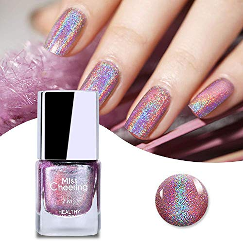 Freeorr Glitter Laser Nagellack, Ziemlich Glänzender Spiegel Glitter Nail Art Holographische Langlebige Nagellack 1 Flasche 7 ML-LS06