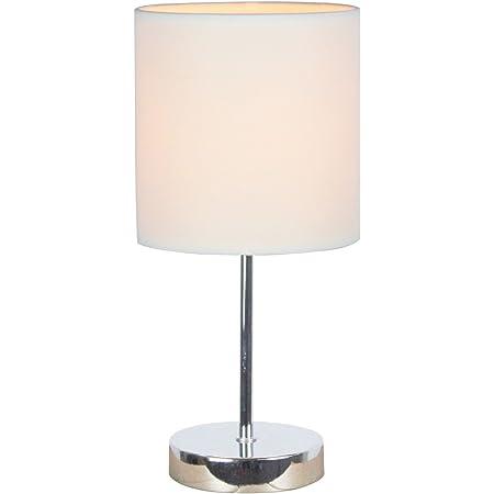 Simple Designs Mini lámpara Básica Cromada con Sombra de Tela Blanco