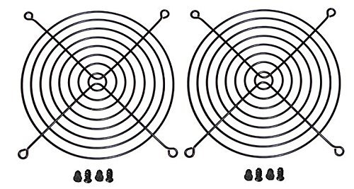 140mm Black Fan Grill/Guard with Screws (2 Pack)