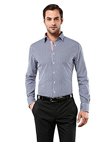 Vincenzo Boretti Herren-Hemd bügelfrei 100% Baumwolle Slim-fit tailliert kariert New-Kent Kragen - Männer lang-arm Hemden für Anzug Krawatte Business Freizeit dunkelblau 37-38