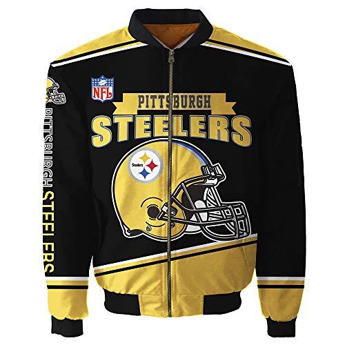 ZGDGG Super Bowl Champions Jackets Big Size Bomber Jacket Autumn Outerwear Winter Coats for Men Women,Pittsburghsteelers,XXL