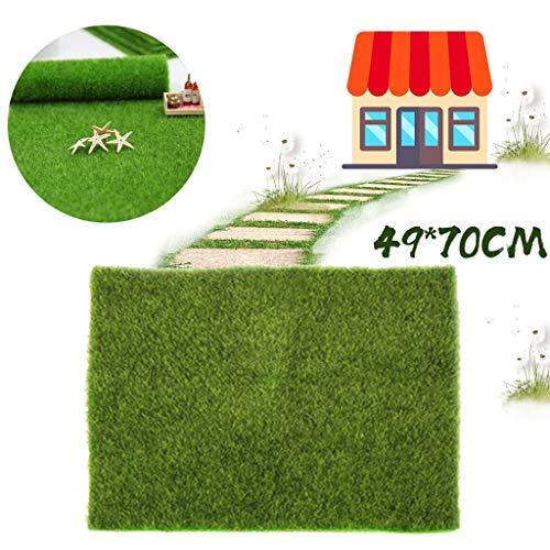 Faux Gartengras Grün Künstlicher Rasen Teppich Moos Kunstrasen Mikrolandschaft Miniatur Handwerk Puppenhaus Dekor Ornament, 49 x 70CM