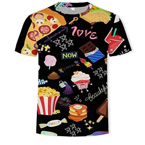 CZPF Heren Compressie Shirt Creatieve Voedsel Letters 3D Digitale Print Korte Mouw Heren Coltrui T-Shirt