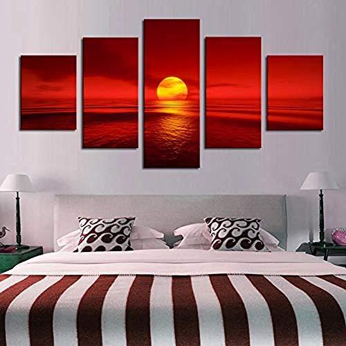 5 Peintures Sur Toile Toile Peintures Modulaire Décoration De La Maison 5 Pièces Coucher Du Soleil Mer Rouge Paysage Naturel Affiche Paysage Marin Images Salon Mur Art Frameless