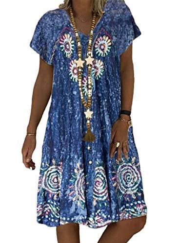 CORAFRITZ Vestido de manga corta para mujer, vestido de verano con volantes, vestido de playa, casual, bohemio, teñido anudado