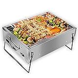 VAZILLIO Barbecue a Carbonella Portatile per 3-5 Persone, Barbecue & Griglia in Acciaio Inox Rinforzata, Barbecue a Carbone Pieghevole per Picnic, Viaggi, Giardino, Campeggio