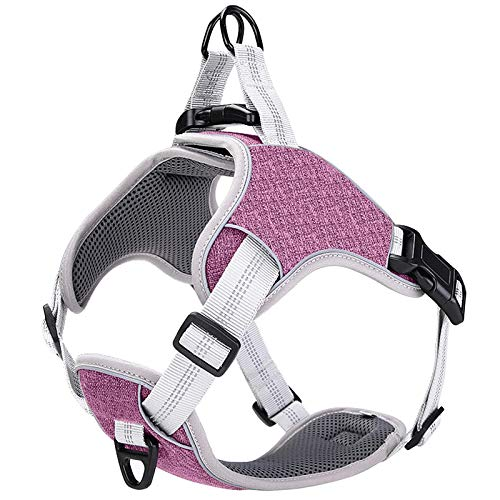 LOCYFENS Dog Harness No Pull,Small Dog Harness for Puppy,Adjustable Step in Harness,Safety 360° Reflective Dog Harness,Easy Walk Dog Vest Harness for Small Dog,Purple S