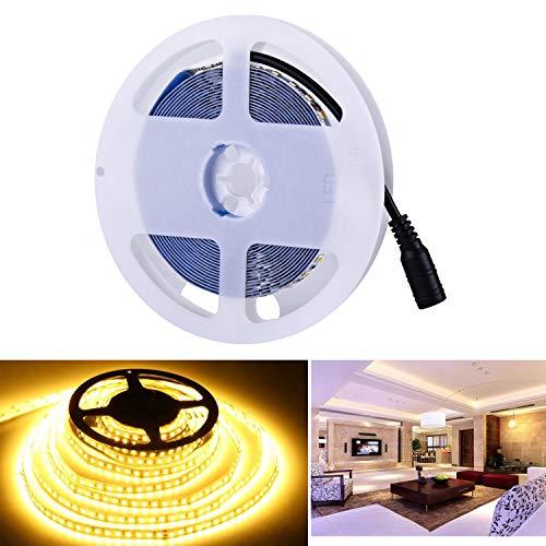 Arotelicht 12V LED Strip 5M warmweiß 2835SMD Band Leiste Streifen 600 LEDs Lichterkette Stripe Lichtleiste TV Innen Treppenlicht Deko Lichter, nicht wasserdicht IP20,120LEDs/M