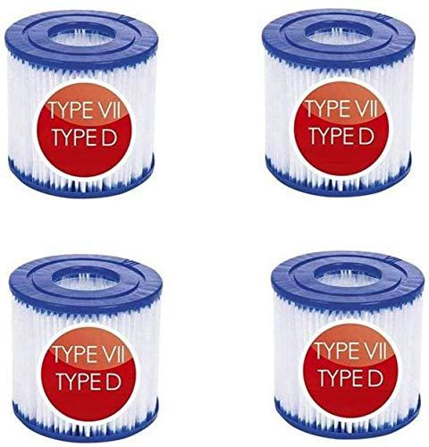 Filterkartusche Typ D / VII für Bestway Poolpumpe für Intex Pool Pumpe Typ D Filter für Poolpumpe SFS-350, SFS-600, RP-350, RX-600 (4 Stück)