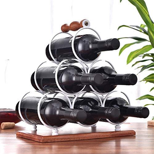 Jsx Soporte de Copa de Vino portátil con Mango de Madera, Soporte de Copa de Vino con Piso de Madera, Estante de Almacenamiento de Vino de Color Cobre Antiguo, Estante de Vino de 6 Botellas,Blanco