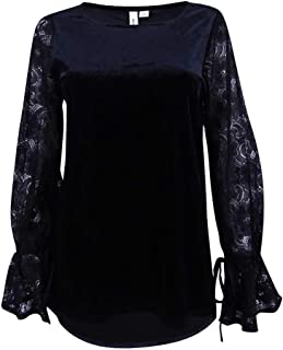 Womens Velvet Lace Sleeves Casual Top