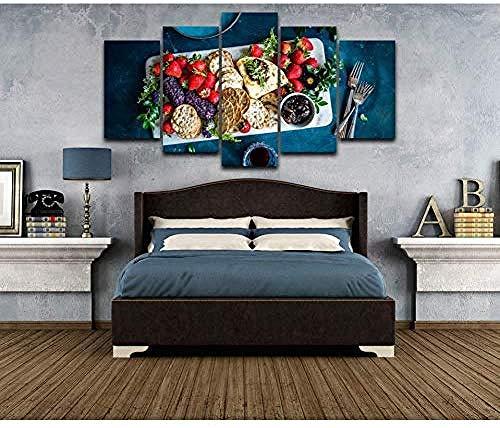 5 Gemälde Auf Leinwanddekoration Des Modernen Hauses Leinwand Fotos Hd Print Küche Poster 5 Stück Obst Essen Kekse Malerei Wohnzimmer Kunst Frameless