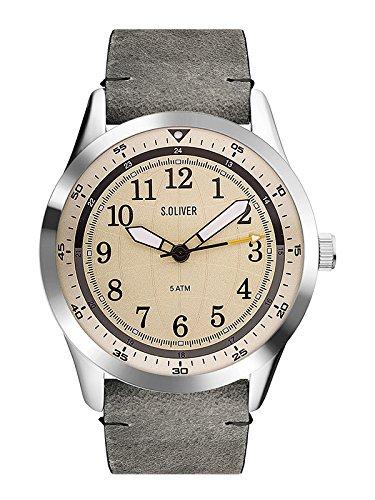 s.Oliver Unisex Erwachsene Analog Quarz Smart Watch Armbanduhr mit Leder Armband SO-3576-LQ