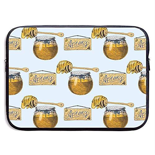 Apiary Bee Hand getrokken Vintage Honing maken 15 Inch Laptop Sleeve Tas Draagbare Rits Laptop Tas Tablet Tas