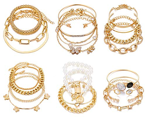 IFKM 6 PACK (24 PCS) Boho Gold Chain Bracelets Set for Women Girls, 14K Gold Plated Multiple Layered Stackable Open Cuff Wrap Bangle Adjustable Link Italian Cuban Jewelry for Women Girls Gift