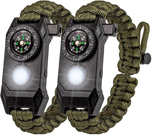 Protección LEDway Paracord pulsera táctica de supervivencia Kit 6-en-1-70% más grande brújula LED SOS función de emergencia linterna -fuego arrancador cuchillo de emergencia y silbato (verde*2)