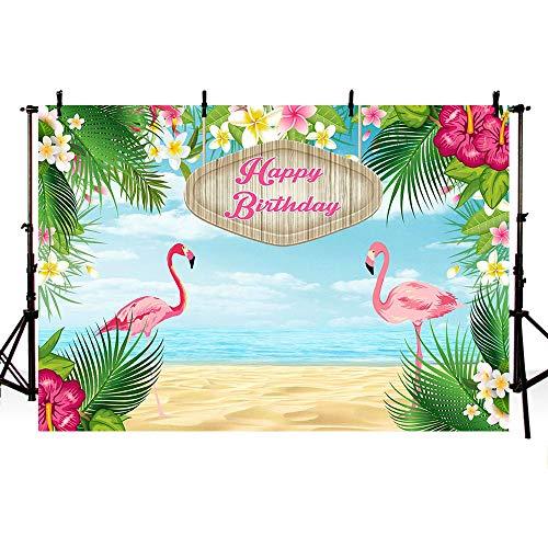 MEHOFOTO Toile de fond pour photographie Accessoire pour décoration de fête Motif flamant rose Décor tropical Photo de studio Bannière de fond 2,2x1,5m