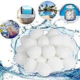 Viilich Filter Balls Materiale Filtrante Imballaggio del Sacchetto del OPP della Sfera Filtrante in Polietilene da 1400g, Risciacquo Sabbia Filtrante da 50kg Filtro a Sabbia per Piscina