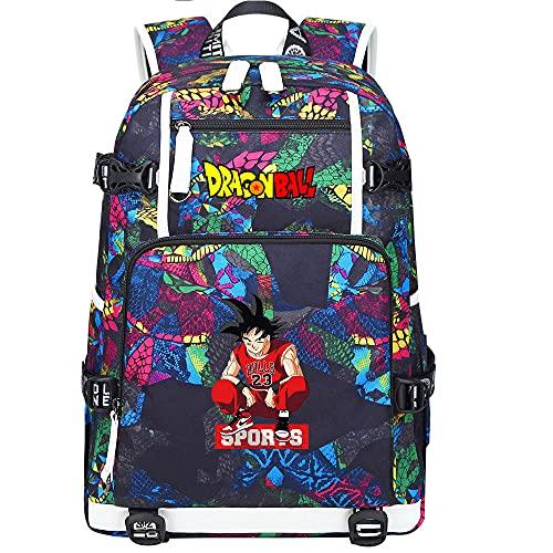 ZZGOO-LL Dragon Ball Son Goku/Vegeta IV/Torankusu Mochila Mochila Casual Impermeable Viaje de Negocios con USB Unisex-E