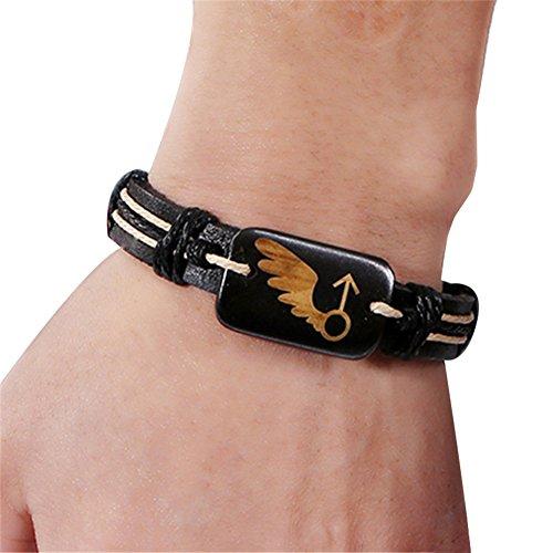 CAOLATOR Schmuck Herren Damen Armband Paar Retro Einstellbar Lederarmband Armbänder Flügel Muster Freundschaftsbänder Welpen Armkette Exotischer Stil Handgewebt Armreif (Manner)