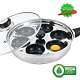 Eggssentials Poached Egg Maker - Nonstick 6 Egg Poaching Cups - Stainless Steel Egg Poacher Pan FDA...