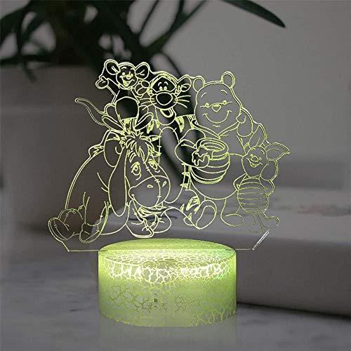 3D Night Light Winnie Pooh Tigger Lámpara de ilusión 3D Decoración de dormitorio Mejor Navidad Regalo de Cumpleaños para Niño Niña Niña, con Voucher