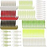 115 x Gummiköder für Gummifische Angeln in 8 Farben in 6 verschiedenen Größen für Barsch, Forelle, Zander und Hecht 4,3cm-8cm