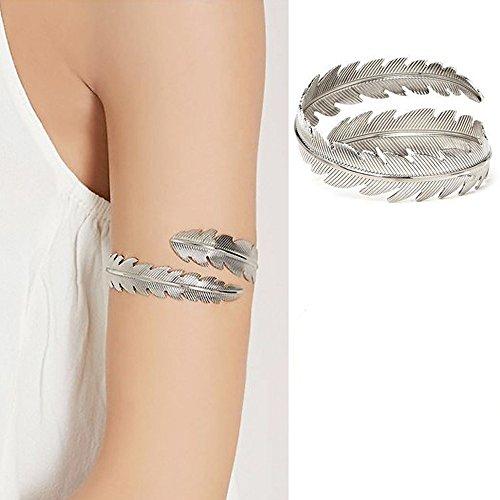 HOMEYU® Mode Goldton Swirl Blatt Oberarm Armband Armreif Manschette Armreif Armband Verstellbarer Arm Ring