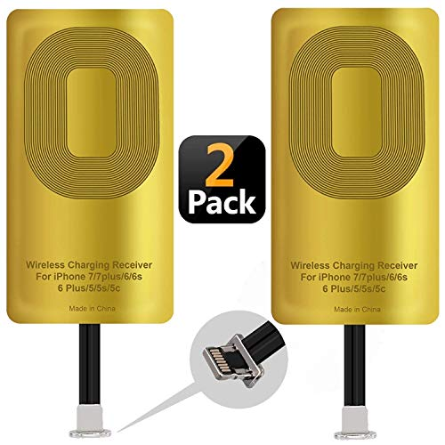 2 Pcs Fast QI Receiver Ultra-Thin Wireless Charging Receiver Adapter Patch for iPhone 7 7 Plus 6 6 Plus 6s 6s Plus 5 5s 5c 5w 1000mAh Compatible All Wireless Charger(2 pcs)