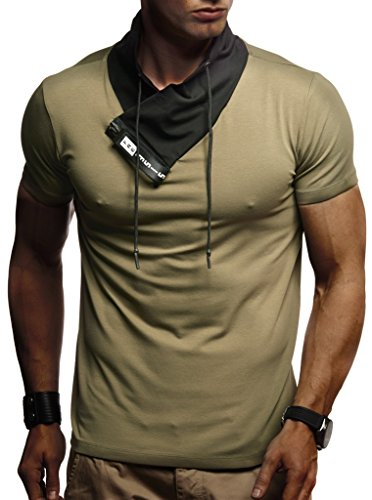 LEIF NELSON Men's Modern Basic T-Shirt Sweatshirt with Collar Hoodie Sweater Polo Slim Fit LN-1135; XX-Large, Khaki