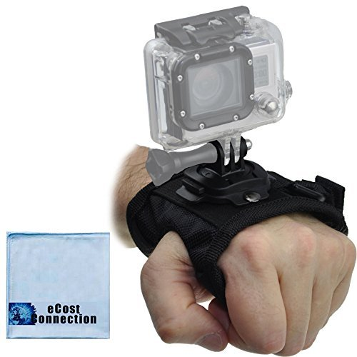 Rotating Wrist Strap Mount for ALL GoPro HERO Cameras + eCostConnection Microfiber Cloth