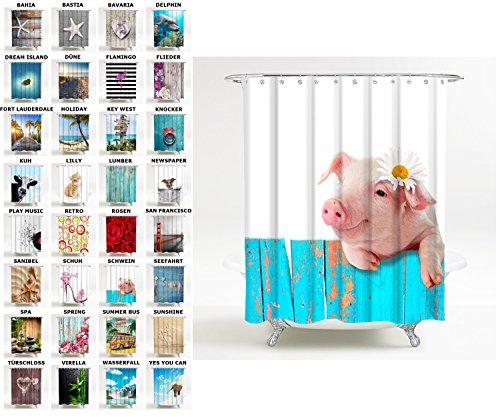 Sanilo Duschvorhang, viele schöne Duschvorhänge zur Auswahl, hochwertige Qualität, inkl. 12 Ringe, wasserdicht, Anti-Schimmel-Effekt (180 x 180 cm, Schwein)
