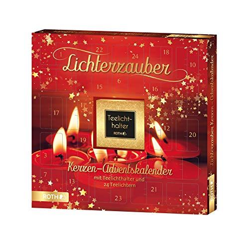ROTH Kerzen-Adventskalender 'Lichterzauber' mit 24 Lichtern und einem Kerzenhalter, 35x35x4cm