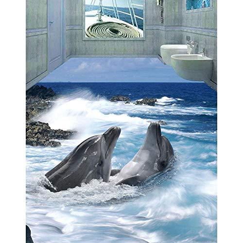 3D-pvc-vloerbedekking aangepaste muurstickers Mooie dolfijnen vloersticker Lotus badkamervloer schilderen fotobehang voor muren 250cm(L)x180cm(W)