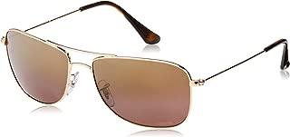 RAY-BAN RB3543 Chromance Mirrored Aviator Sunglasses, Shiny Gold/Polarized Purple Mirror, 59 mm