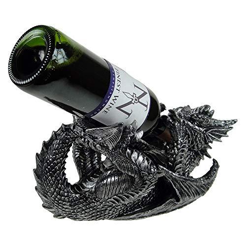 Nemesis Now Dragon 32cm Wine Bottle Holder Weinflaschenhalter Guzzlers Drache, 32 cm, Schwarz, Einheitsgröße