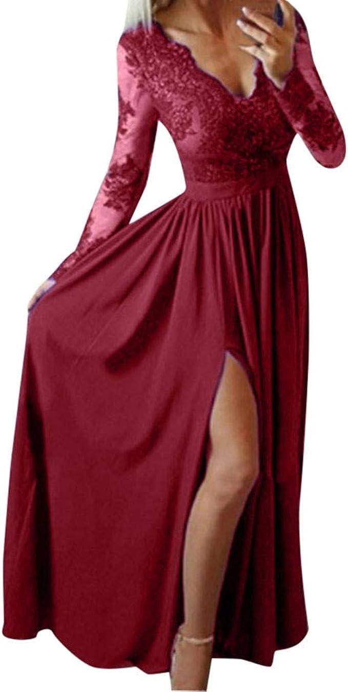 Ansenesna Kleid mit Schlitz Damen Festlich Hochzeit Abendkleider Lang V  Ausschnitt Elegant Abiballkleid Frauen Mit Ärmel Langarm Maxi Kleider  Spitze ...