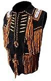 coolhides Men's Cowboy Fringes, Bones & Beads Suede Leather Stylish Vest Black 3X-Large
