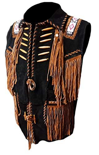 Coolhides Men's Cowboy Fringes, Bones & Beads Suede Leather Stylish Vest Black Large