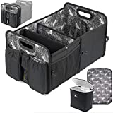 Car Trunk Organizer with Cooler Lid - Front and Back Seat Belt | Bottle, Wipes, Plastic Bag Pockets | Baby Diaper Caddy Organizer with Changing Pad | Backseat Car Organizer Kids Babies Storage Basket