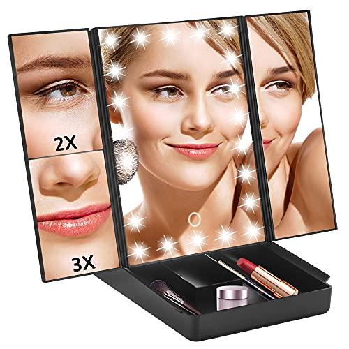 TRUSTLIFE Espejo Maquillaje con Luz Plegable con 22 Luces LED, 3 x 2 x 1 x Espejo de Aumento de la Vanidad Regulable Iluminado Portátil Espejo Cosmético Color Negro