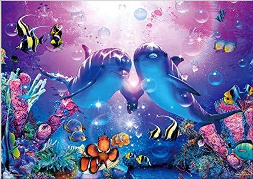 ZSYXM 5D DIY Diamant malerei Marine Dolphin Stickerei Diamant Kreuzstich volle kreisrunde Strass mosaik Dekoration geschenk-30x40cm/12x16in