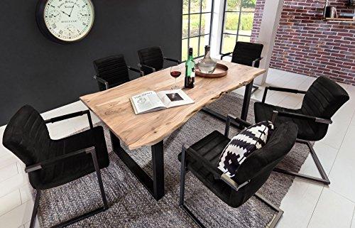 SAM® 7 TLG. Essgruppe Quentin, je 1x Baumkantentisch 200x100cm Akazie-Holz & 6X Schwingstuhl Parzivo in schwarz